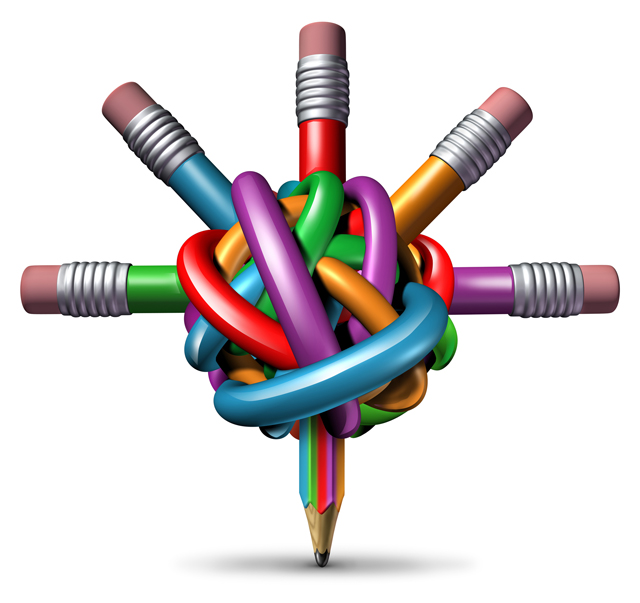Creative management and leadership business concept as a group of tangled confused color pencils focused in a clear managed direction for team strategy resulting in imagination and innovation success.